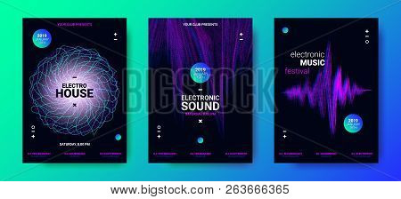 Electronic Music Movement Concept. Sound Amplitude of Distorted Dotted Color Lines. Vector Equalizer Design. Wave Poster for Dance Night Party. 3d Graphic Round with Glow and Movement of Dots Effect. poster