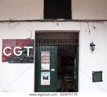 Ciutadela, Menorca , Spain - October 1 2018: The Office Of The Cgt Trade Union With Banner Painted O