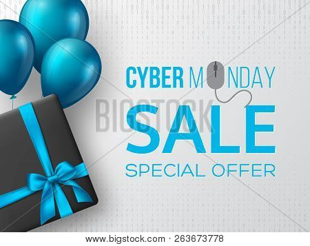 Cyber Monday Sale Poster Or Banner For Seasonal Discounts. Black Box With Realistic Silk Blue Bow An