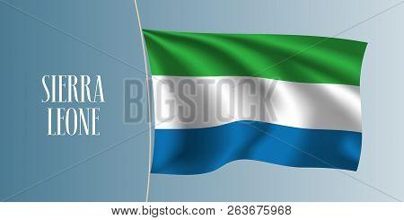 Sierra Leone Waving Flag Vector Illustration. Iconic Design Element As A National Symbol