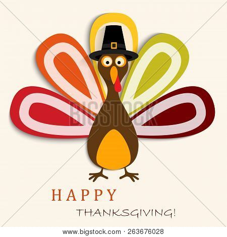 Happy Thanksgiving Card With Happy Thanksgiving Turkey