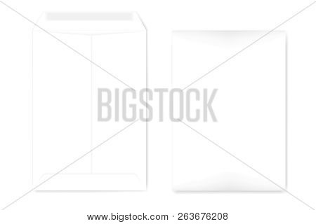 A4 Catalog Envelope With Self Adhesive Seal, Mock Up. Empty Document Case Isolated On White Backgrou