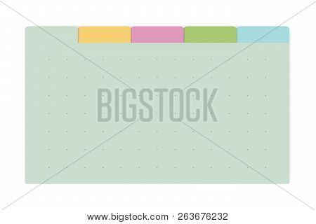 Color Dot Grid Page Notebook With Tab Dividers, Vector Mockup. Self Stick Memo Pads Block, Template.