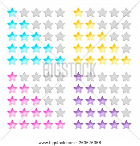 Illustration, Stars, Rating, Levels Of Difficulty, Yellow