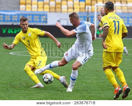 Lviv, Ukraine - September 9, 2018: Andriy Yarmolenko Of Ukraine (l) Fights For A Ball With Milan Skr
