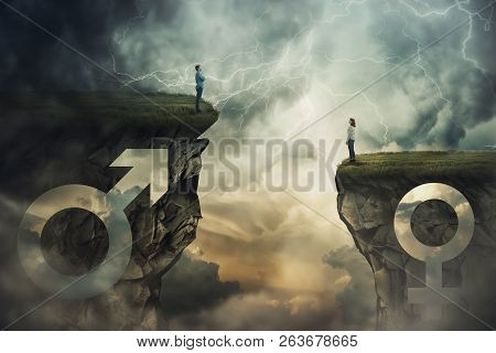 Gender Gap Idea And Sex Inequality Concept As Male And Female Sign Shaped Into Stone Cliff Of Differ