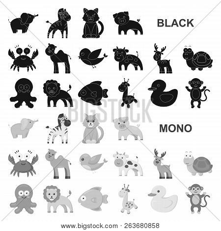 An Unrealistic Black Animal Icons In Set Collection For Design. Toy Animals Vector Symbol Stock Web