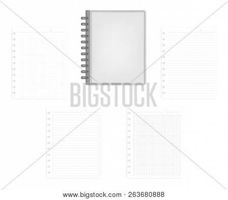 Closed Letter Size Disc Bound Notebook With Set Of Various Ruled Hole Punched Filler Paper Sheets, V