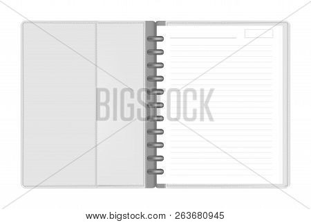 Open Discbound Letter Size Note Book With Interior Pocket Top View, Vector Mock Up. Gray Leather Dis
