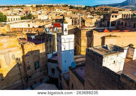 Cityscape View over the rooftops of largest medina in Fes, Morocco in Africa poster