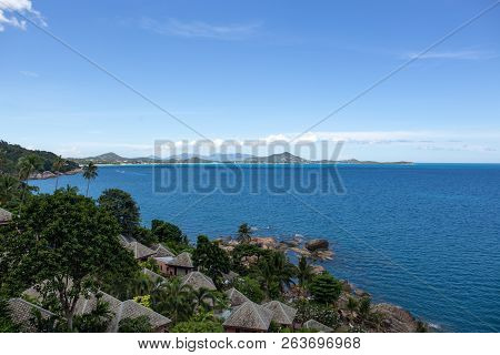 Top View Rocky Coast Beach In Idylic Ocean And Sky On Ko Samui Island In Thailand.