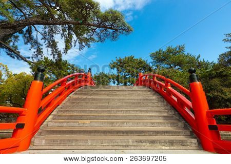 The Japanese traditional drum bridge of Sumiyoshi Taisha temple, Osaka, Japan