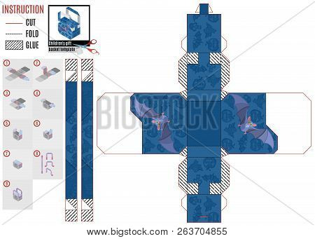 Template Boxes For Sweets With A Flying Purple Mouse.vector Stock Illustration