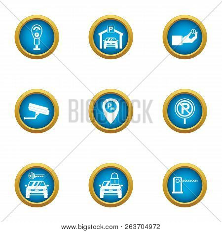 Parking Space Icons Set. Flat Set Of 9 Parking Space Vector Icons For Web Isolated On White Backgrou