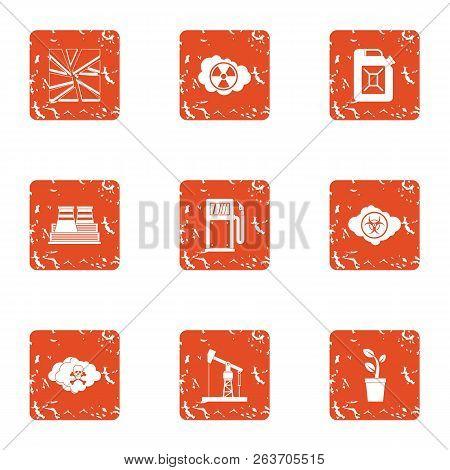 Chemistry The Threat Icons Set. Grunge Set Of 9 Chemistry The Threat Vector Icons For Web Isolated O
