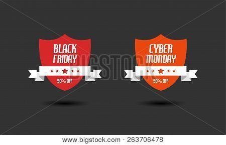 Black Friday & Cyber Monday Sale Sign Design Templates. Vector Illustration Of Shield Badges