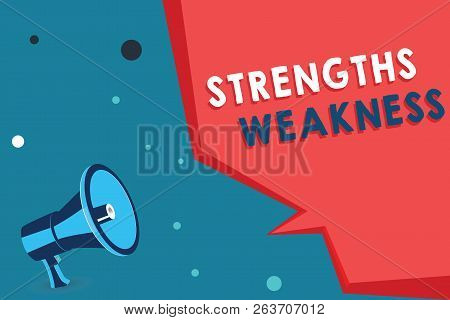 Word Writing Text Strengths Weakness. Business Concept For Opportunity And Threat Analysis Positive