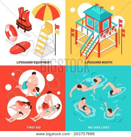 Beach Lifeguards 2x2 Design Concept  Set Of  Lifeguard Inventory And Saving Drowning Isometric Compo