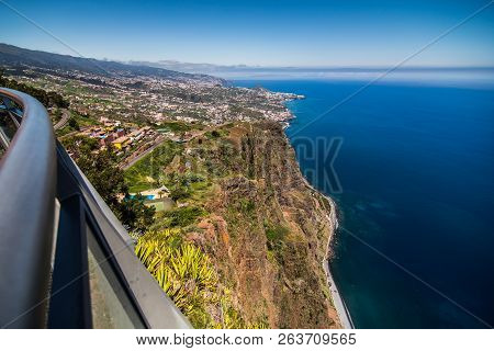 Spectacular View From Cabo Girao Cliff On Funchal At Sunset, Madeira, Portugal