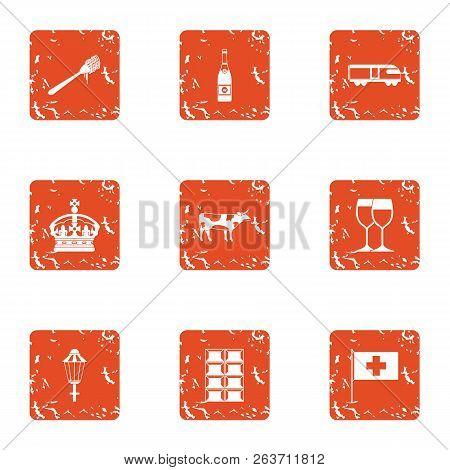 European Government Icons Set. Grunge Set Of 9 European Government Vector Icons For Web Isolated On