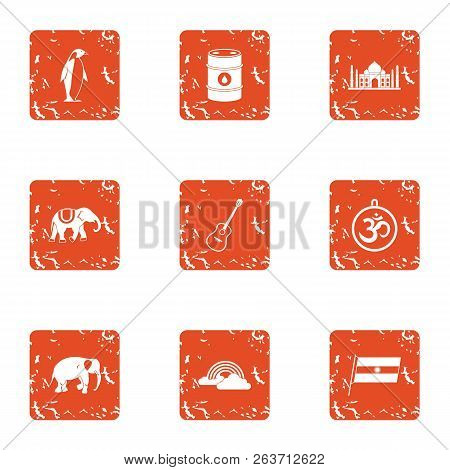Musliman Stay Icons Set. Grunge Set Of 9 Musliman Stay Vector Icons For Web Isolated On White Backgr