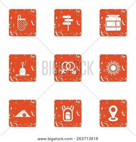 Mutual Intercourse Icons Set. Grunge Set Of 9 Mutual Intercourse Vector Icons For Web Isolated On Wh