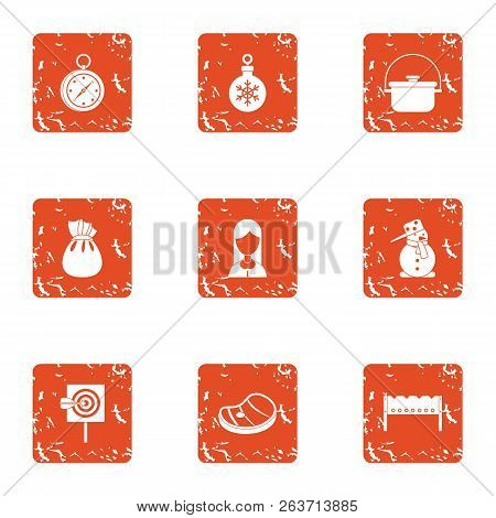Winter Attitude Icons Set. Grunge Set Of 9 Winter Attitude Vector Icons For Web Isolated On White Ba