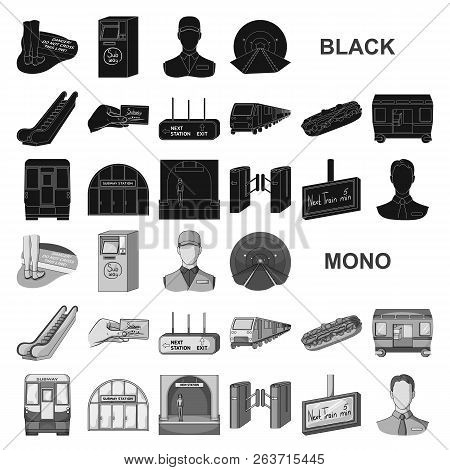 Metro, Subway Black Icons In Set Collection For Design.urban Transport Vector Symbol Stock Web Illus