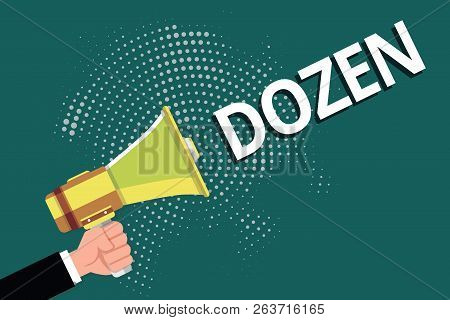 Text sign showing Dozen. Conceptual photo group or set of twelve product food exchange of insults in us poster