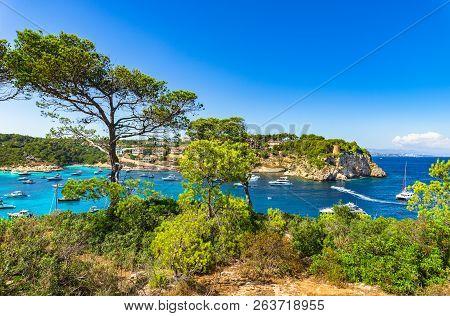 Mediterranean Landscape Bay With Boats Yachts At Portals Vells, Beaches On Majorca Island, Mediterra