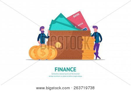 Modern Flat Illustration Concept For Finance Or Business Web Page Landing With Little People Leaned
