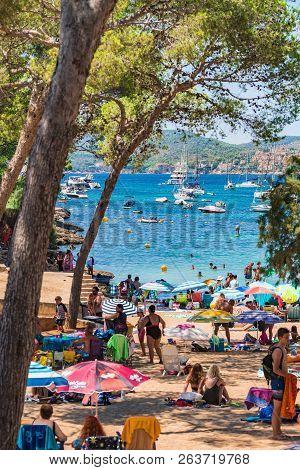 Majorca, Spain - June 01, 2017: Summer Holiday On Mallorca Island, People Relaxing On Santa Ponsa Be