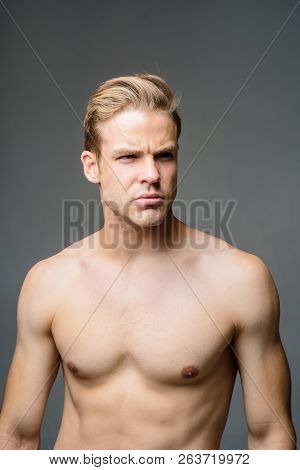 Attractive And Seductive Sensual Look. Muscular Sexy Man. Handsome Man With Athletic Body Shirtless.