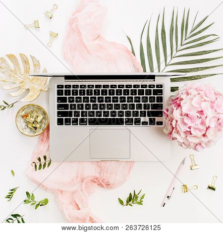 Modern Home Office Desk Workspace With Laptop, Pink Hydrangea Flowers Bouquet, Tropical Palm Leaf, P