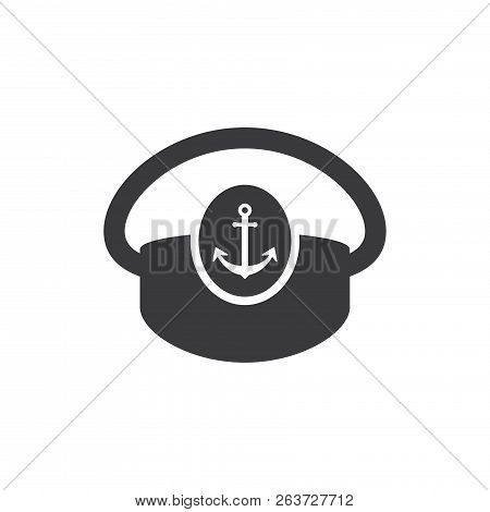 Boat Captain Hat Vector Icon On White Background. Boat Captain Hat Icon In Modern Design Style. Boat