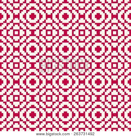 Vector Geometric Traditional Folk Ornament. Fair Isle Seamless Pattern. Tribal Ethnic Motif. Nordic