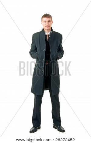 Men In Coat, Isolated On White