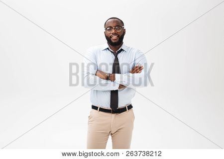 Happy Confident Young African American Business Male Smiling With Confidence