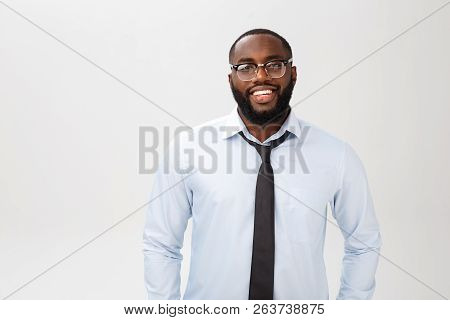 Headshot Of Successful Smiling Cheerful African American Businessman Executive Stylish Company Leade