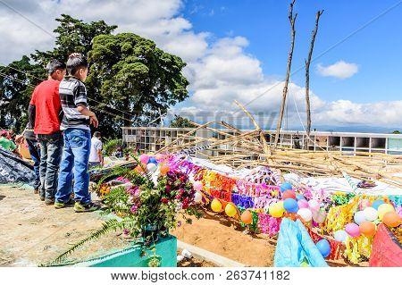 Santiago Sacatepequez, Guatemala - November 1, 2017: Collapsed Giant Kite During Giant Kite Festival