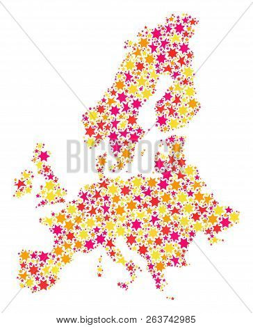 Collage Map Of Euro Union Formed With Colored Flat Stars. Vector Colored Geographic Abstraction Of M