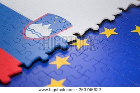 Flag Of The Slovenia And The European Union In The Form Of Puzzle Pieces In Concept Of Politics And
