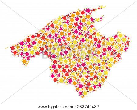 Mosaic Map Of Majorca Composed With Colored Flat Stars. Vector Colored Geographic Abstraction Of Map