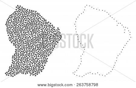 Dot And Contour Map Of French Guiana Created With Dots. Vector Gray Abstraction Of Map Of French Gui