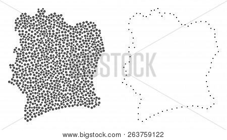 Dotted And Frame Map Of Ivory Coast Created With Dots. Vector Gray Abstraction Of Map Of Ivory Coast