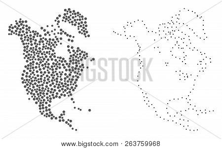 Dotted And Contour Map Of North America Formed With Dots. Vector Gray Abstraction Of Map Of North Am