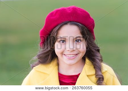 Kid Girl Bright Hat Beret Long Curly Hair. Fall Hat Fashion Accessory. French Trend Fall Season. Cha