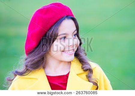 Fall Hat Fashion Accessory. French Trend Fall Season. Charming French Style Fashionable Girl. Fall F