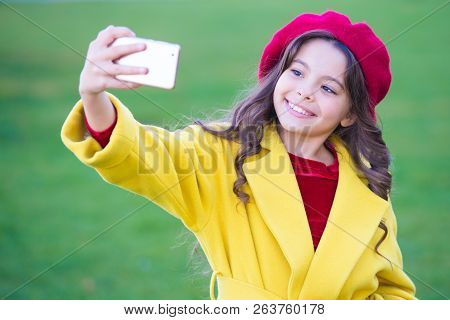 Little Girl Hold Smartphone Or Mobile Phone. Modern Generation Communication. Mobile Communication C