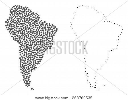 Dotted And Contour Map Of South America Composed With Dots. Vector Gray Abstraction Of Map Of South